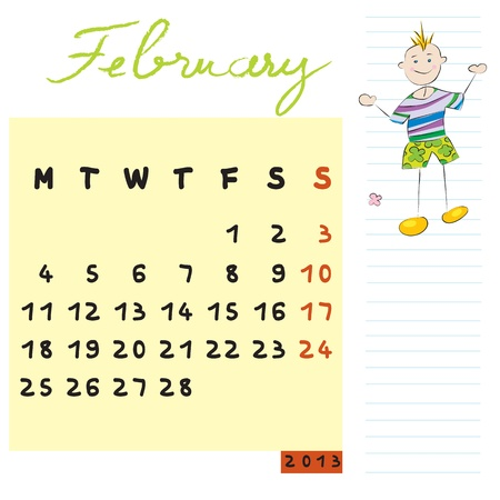 february 2013, calendar design with the open-minded student profile for international schools Vector