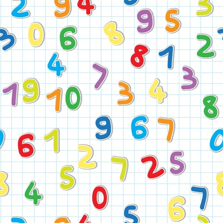 numbers icon: funny figures stickers pattern, numbers over a lined math paper