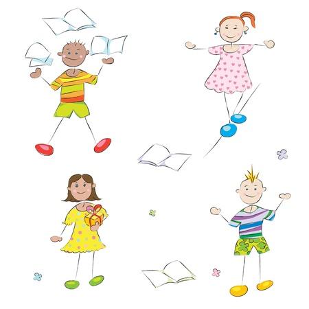 glückliche Schulkinder Doodles, Jungen und Mädchen Schüler-Profil-Zeichen
