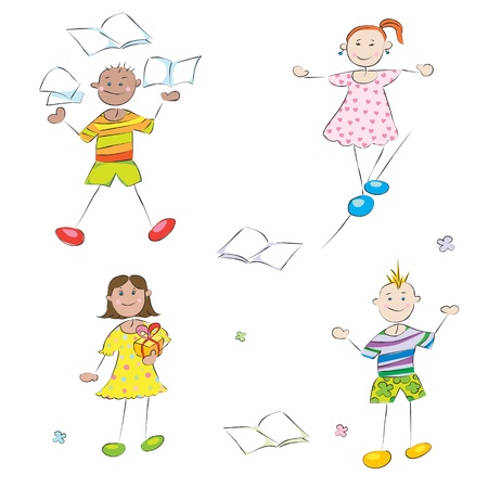 happy school kids doodles, boys and girls student profile characters Vector
