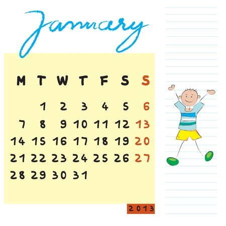 january 2013, calendar design with the happy student profile for international schools Stock Vector - 13624064