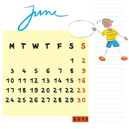june 2013, calendar design with the communicator student profile for international schools Stock Vector - 13624046