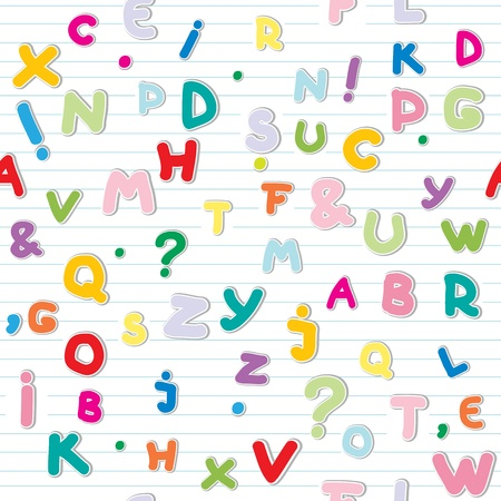 funny letters stickers pattern over a lined paper Vector