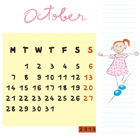 october 2013, calendar design with the balanced student profile for international schools Vector