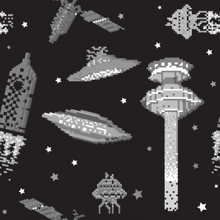 pixel art style pattern, space ships and satellite on a black backround Stock Vector - 13624062