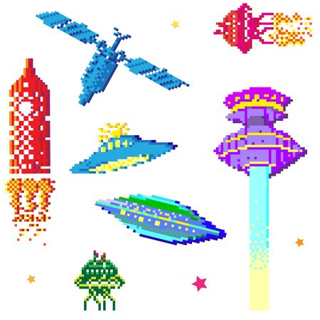 space ships and satellite collection, pixel art style elements isolated on white Stock Vector - 13624061