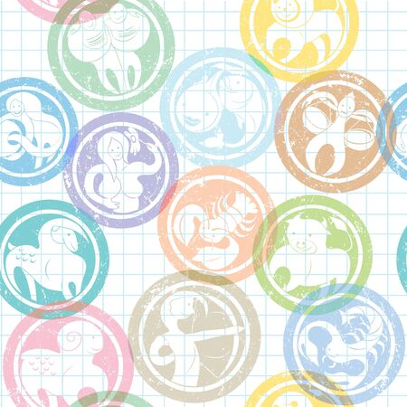 zodiac signs stamps pattern over lined math paper Vector