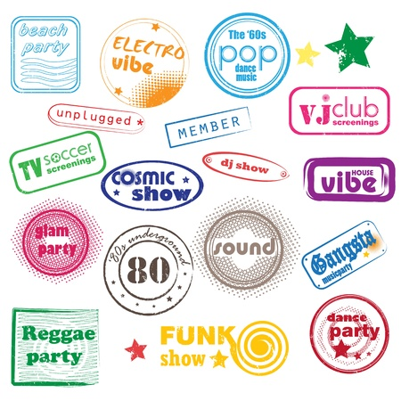 club music pop stamps collection isolated on white Vector