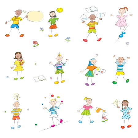 knowledgeable: happy learning school kids doodles collection isolated on white, student profile hand drawn characters