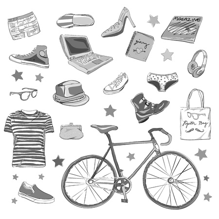 urban hipster accesories, smart grey scale doodles isolated on white Vector