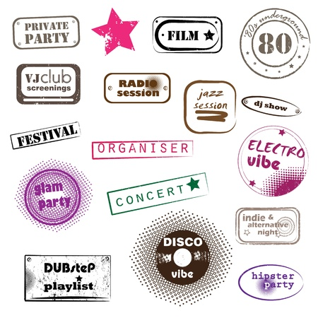 hipster party retro music pop stamps collection isolated on white Illustration