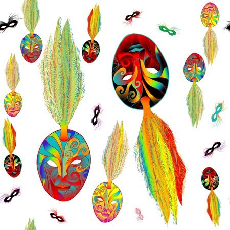 mardi gras: Mardi Gras psichedelico modello kitsch con le maschere su bianco