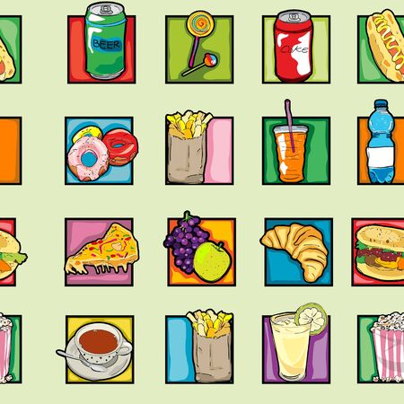 Classic clip art icons pattern with cheeseburger, pizza, beer, soda, coffee, lollipop, juice, croissant, french, fries, fruits, pop art retro graphics Vector