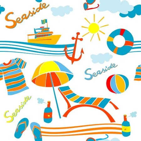 seaside icons summer pattern over white Vector