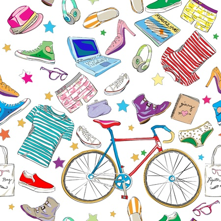 urban hipster accesories pattern, smart colored doodles over white