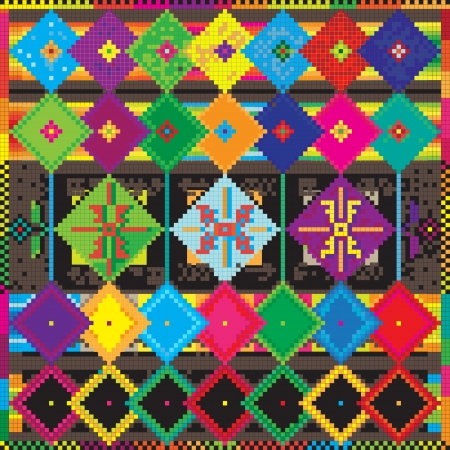 ethno: ethno country carpet with pixel art abstract elements, retro pc game style