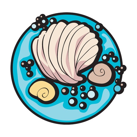 hand drawn graphic illustration of a shell and some snails under the sea, clip art isolated on white Vector