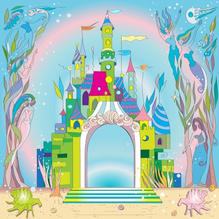 castle tower: fairy tale castle under the sea, hand drawn composition with mermaids and fishes