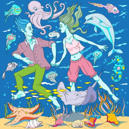 woman underwater: hand drawn fairy tale image of a young man and a young woman, underwater swimming among sea creatures