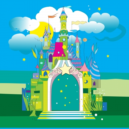 Hand drawn illustration of a fairytale castle on a green meadow under a blue cloudy sky of a starry night