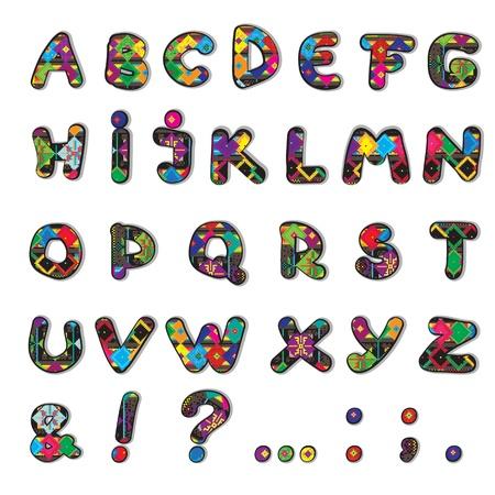 originales: Etno decorado fuente original modelo, pixel art m�s divertidas letras may�sculas grasa aislado en blanco