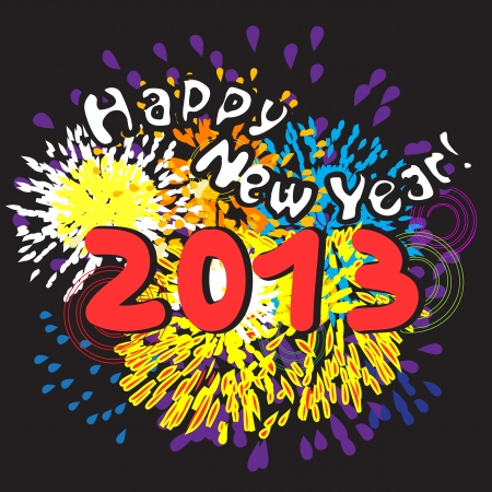 Happy New Year 2013, greetings card with fireworks over black night background Vector