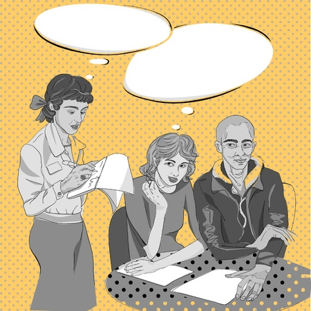 Pop art hand drawn illustration of a three people conversation in a cozy restaurant with comics style speech bubbles Vector