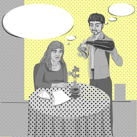 Pop art hand drawn illustration of two people conversation in a cozy restaurant with comics style speech bubbles Vector