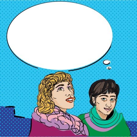 Image shows a comic style graphic of a girl and a boy and a speech bubble for your text Stock Vector - 14976716