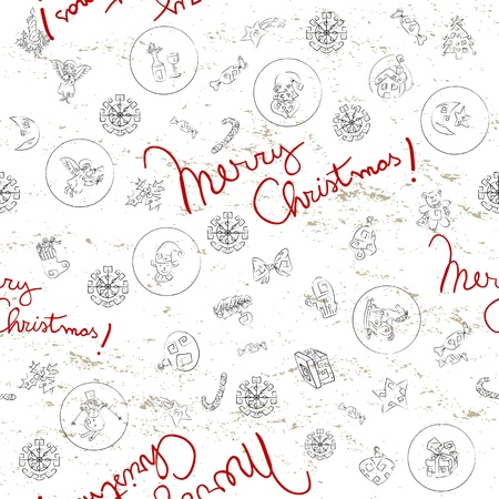 Doodles seamles pattern with Christmas greetings Vector