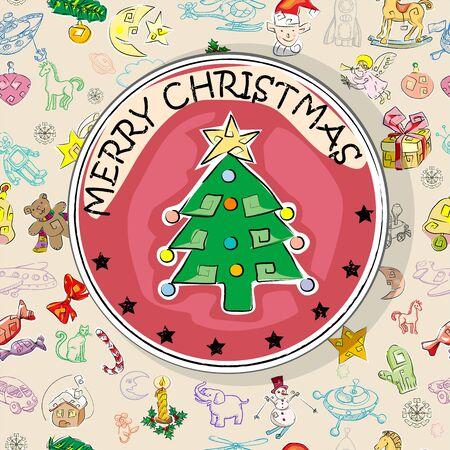 season greetings: Carte de No�l avec sapin de No�l sur un motif de lumi�re transparente avec les ic�nes salutations de la saison