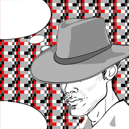 comic style drawing of a man with a retro hat over a pixel art background and a speech bubble for your text  Vector