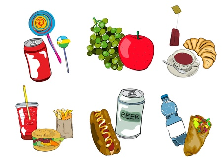 Fast food, drinks and fruits icon set, isolated and grouped objects over white background  Hand drawn sketch