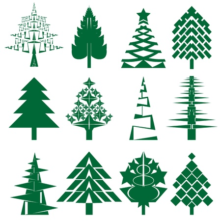 A series of 12 abstract Christmas trees isolated on white, Holiday collection Vector