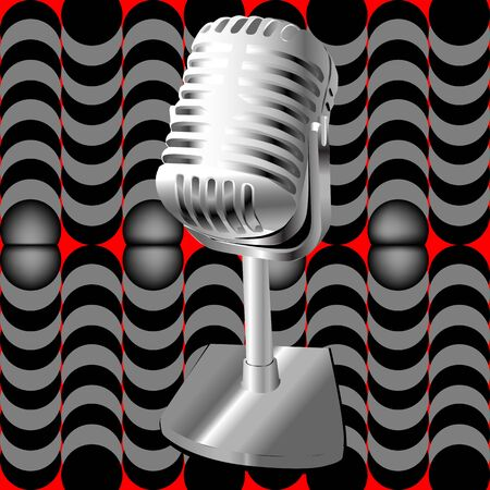 Illustration af a retro microphone over an optical art pattern Vector