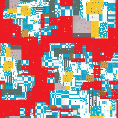Pixel urban art pattern of a city map with a red background Vector