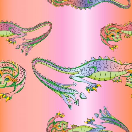 Hand drawn pattern with Chinese dragons over the representation of a silk background Vector