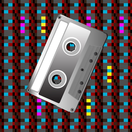 Illustration of a cassette over a pixel art pattern, hipster icon Vector