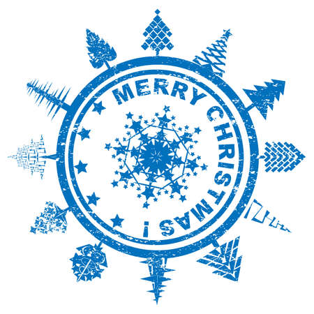 Blue rounded geometric Christmas stamp with pines and snowflake over white Stock Vector - 16303799