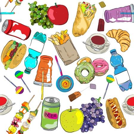 unhealthy: Dibujado a mano comida r�pida patr�n elementos Vectores
