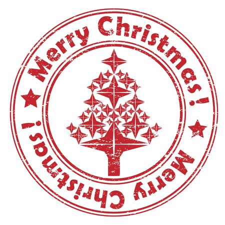 Red geometric Christmas tree stamp isolated on white Vector