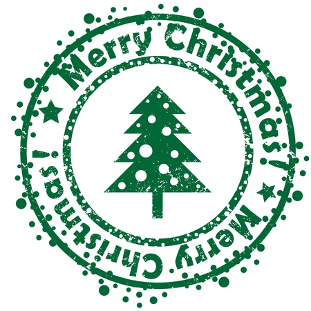 Geometric Christmas tree stamp isolated on white