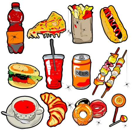 Hand drawn scary fast food elements for Halloween decoration Vector