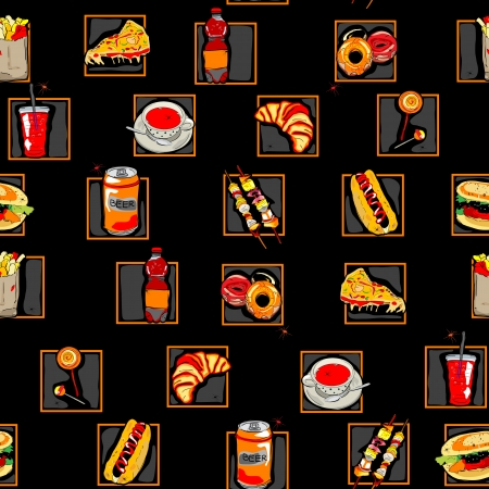 Hand drawn scary fast food pattern for Halloween decoration Vector