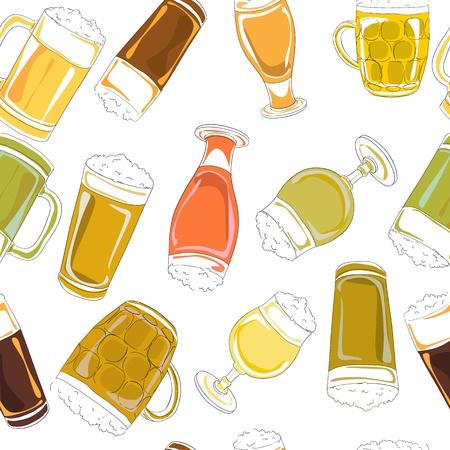 beer pint: Dibujado a mano patr�n con pintas de cerveza y vasos aislados en blanco