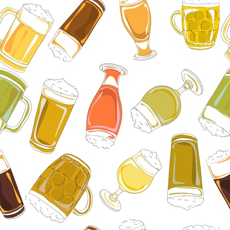 Hand drawn pattern with beer pints and glasses isolated on white Illustration