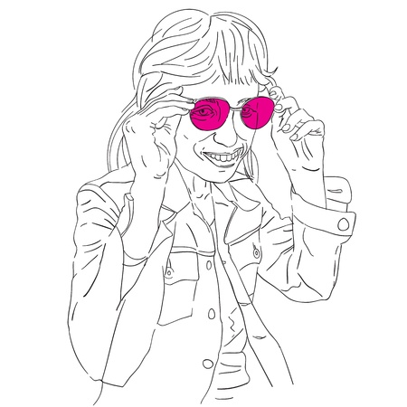 Hand drawn funny girl with pink sunglasses, doodle isolated on white Vector