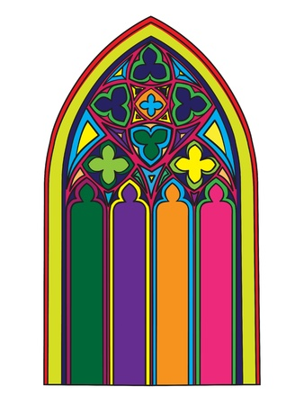 Hand drawn illustration of a gothic window with stained glass over white Vector