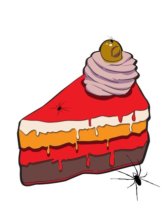 repulsive: Hand drawn illustration of a slice of cake with spiders for Halloween party, doodle isolated on white Illustration