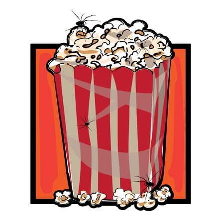 deteriorated: Hand drawn clip art illustration of a striped packaging with popcorn and spiders for Halloween  Illustration